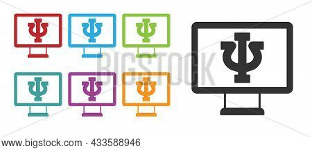 Black Online Psychological Counseling Distance Icon Isolated On White Background. Psychotherapy, Psy
