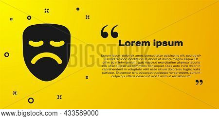 Black Drama Theatrical Mask Icon Isolated On Yellow Background. Vector