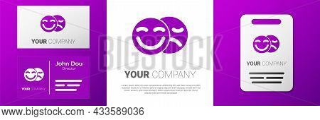 Logotype Comedy And Tragedy Theatrical Masks Icon Isolated On White Background. Logo Design Template