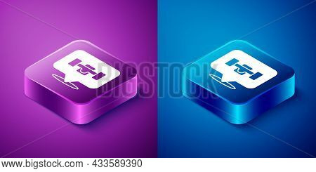 Isometric Skateboard Wheel Icon Isolated On Blue And Purple Background. Skateboard Suspension. Skate