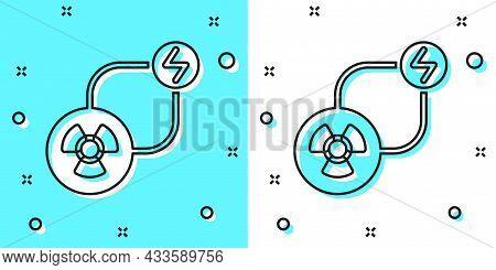 Black Line Radioactive Exchange Energy Icon Isolated On Green And White Background. Radioactive Toxi