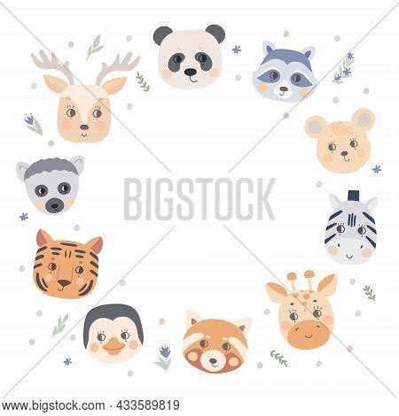 Round Frame With Animal Faces, Giraffe, Tiger, Lemur, Penguin, Zebra Bear, Panda, Deer And Raccoon.