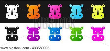 Set Rhinoceros Icon Isolated On Black And White Background. Animal Symbol. Vector