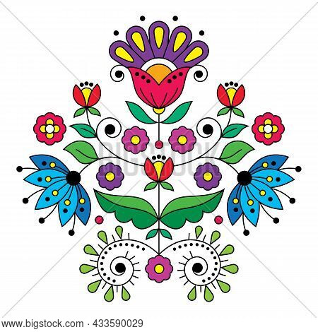 Scandinavian Cute Folk Art Vector Design Inspired By Traditional Embroidery Patterns From Sweden, Re