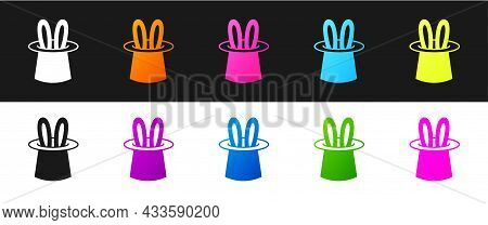 Set Magician Hat And Rabbit Ears Icon Isolated On Black And White Background. Magic Trick. Mystery E