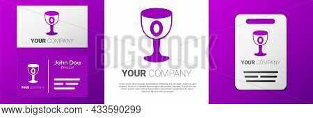 Logotype Medieval Goblet Icon Isolated On White Background. Holy Grail. Logo Design Template Element