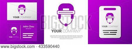 Logotype Hockey Helmet Icon Isolated On White Background. Logo Design Template Element. Vector