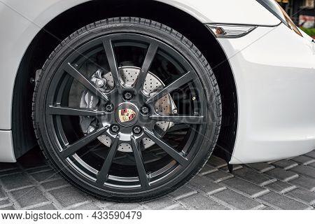 Ukraine, Odessa September 8 - 2021: Michelin Tyre Wrapped On Porsche Wheel. High Performance All Sea