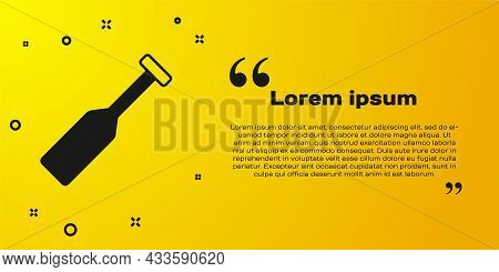 Black Paddle Icon Isolated On Yellow Background. Paddle Boat Oars. Vector