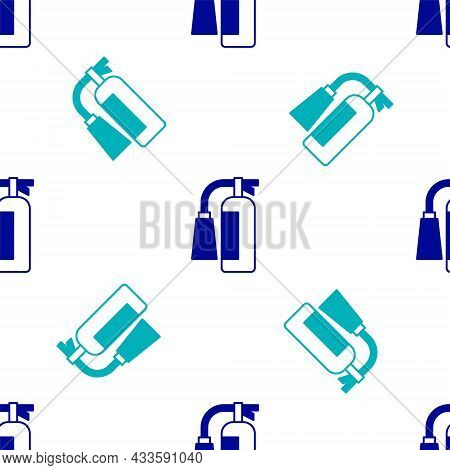 Blue Fire Extinguisher Icon Isolated Seamless Pattern On White Background. Vector
