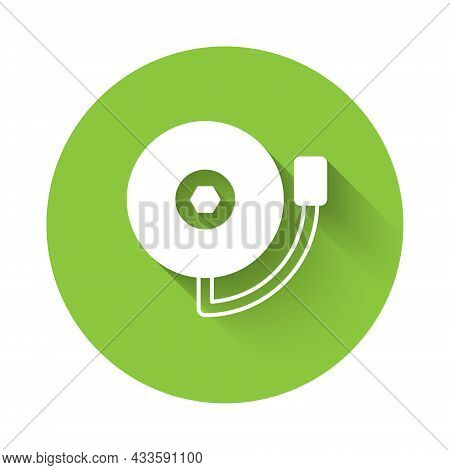 White Ringing Alarm Bell Icon Isolated With Long Shadow Background. Fire Alarm System. Service Bell,