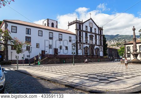 Funchal, Portugal - August 29, 2021: This Is The Building And The Church Of The College Of The Jesui