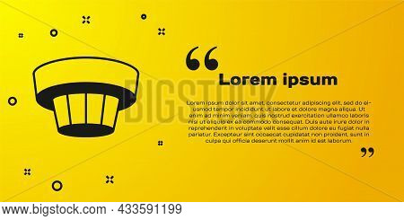 Black Smoke Alarm System Icon Isolated On Yellow Background. Smoke Detector. Vector