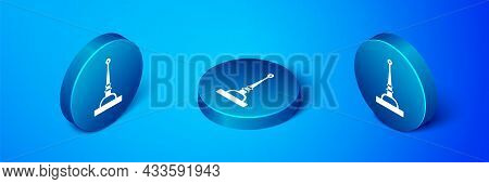 Isometric Antenna Icon Isolated On Blue Background. Radio Antenna Wireless. Technology And Network S