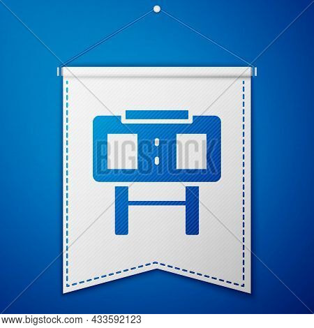 Blue Sport Mechanical Scoreboard And Result Display Icon Isolated On Blue Background. White Pennant