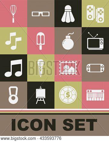 Set Music Synthesizer, Portable Video Game Console, Retro Tv, Badminton Shuttlecock, Ice Cream, Note
