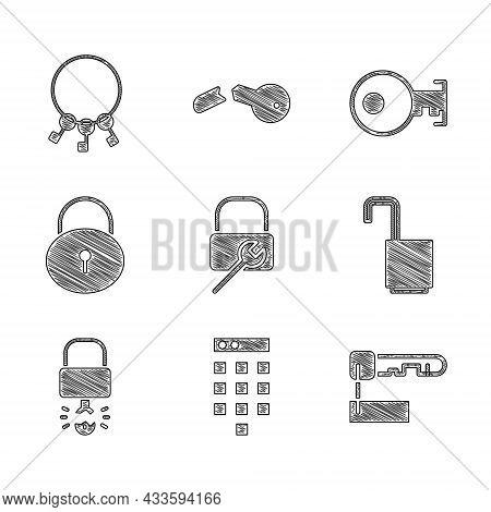 Set Lock Repair, Password Protection, Marked Key, Open Padlock, Key Broke Inside Of, And Bunch Keys