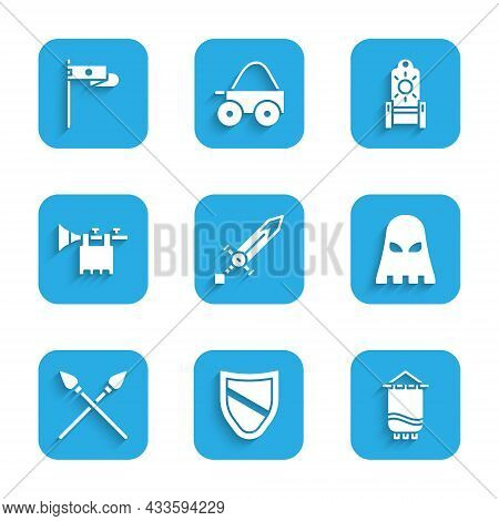 Set Medieval Sword, Shield, Flag, Executioner Mask, Crossed Medieval Spears, Trumpet With, Throne An