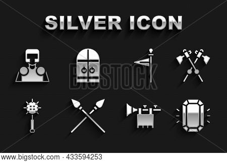 Set Crossed Medieval Spears, Axes, Diamond, Trumpet With Flag, Medieval Chained Mace Ball, Knight An