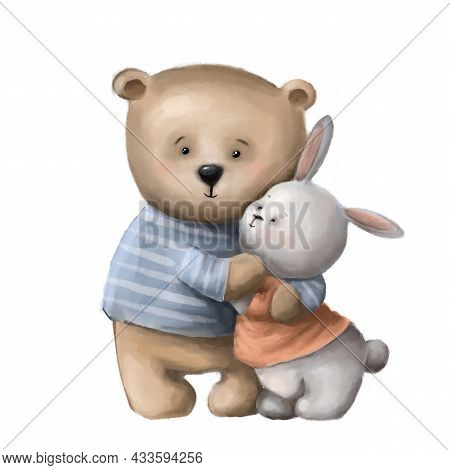 Warm Hugs Of Bear And Hare, Children's Illustration, Watercolor Style Clipart With Cartoon Character