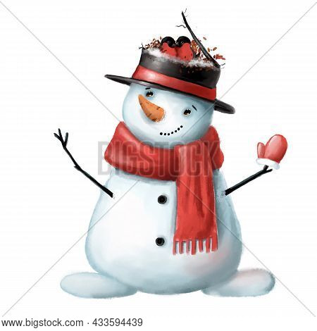Cute Snowman Portrait With Bullfinches, Watercolor Style Clipart, Winter Illustration With Cartoon C