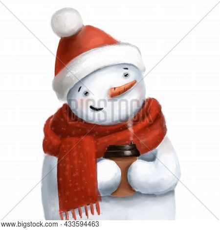 Cute Snowman Portrait With Cup Of Hot Drink, Watercolor Style Clipart, Winter Illustration With Cart