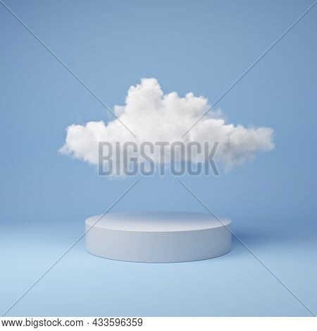 Stand for product. Blue background with fluffy cloud. 3D illustration, rendering.