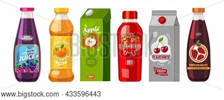 Juice Packages In Carton Boxes And Plastic Bottles, Vector Fruit Juice Packs. Orange, Cherry And App