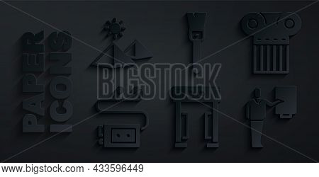 Set Metal Detector, Ancient Column, Museum Audio Guide, Paint Brush And Egypt Pyramids Icon. Vector