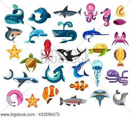 Fishes And Sea Animals Flat Icons Of Ocean Life, Vector Kids Design In Geometric Graphic. Cartoon Oc