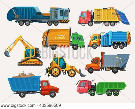 Dump Trucks And Loaders Set, Construction Machinery And Heavy Industry Cars, Vector Flat Icons. Dump