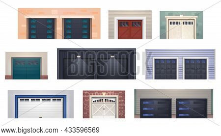Garage Door Gates, Warehouse Shutters And Metal Rollers From Parking Entrance Or Shop, Vector. Gate