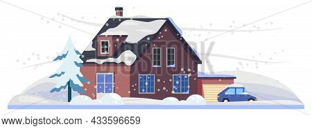 Snow And House Under Winter Snowfall, Cold Weather And Ice On Road, Vector Natural Disaster. Heavy S