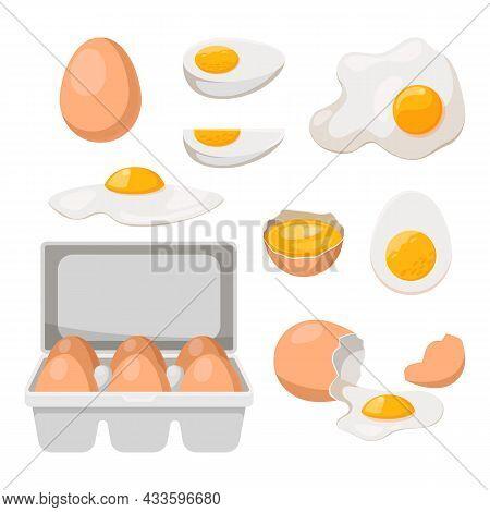 Eggs In Carton Box Tray And Broken, Vector Farm Product Food. Chicken Eggs In Carton Paper Container