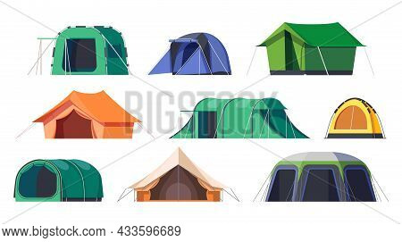 Camp Tents Or Campsite Shelters, Vector Camping Travel And Tourist Equipment. Scout Campsite Tent Or