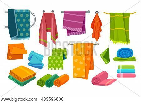 Towels For Bathroom And Bathing, Fabrics And Clothes Vector Collection. Bath And Kitchen Towels Fold