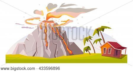 Volcano Eruption Near House, Natural Disaster Damage And Nature Cataclysm, Vector Background. Volcan
