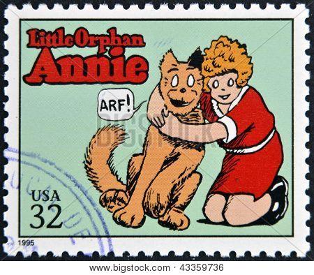 francobollo stampato negli USA dedicato ai classici del fumetto illustrato Little Orphan Annie