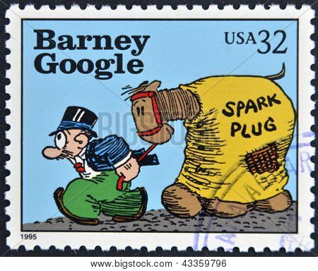 stamp printed in USA dedicated to comic strip classics shows Barney Google