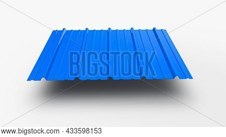 Roof Roof Profile Metal Colored Wooden Texture Isolated On White Background Corrugated Metallic Slat
