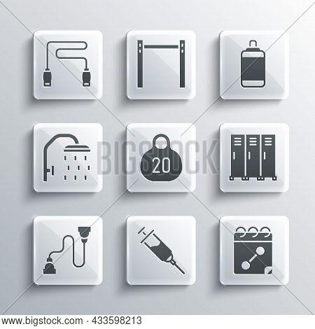 Set Doping Syringe, Calendar Fitness, Locker Or Changing Room, Kettlebell, Chest Expander, Shower He