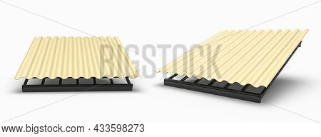 House Facade Pvc Coated Metal Roof Sheets Corrugated Metal Siding, Profiled Sheeting 3d Illustration