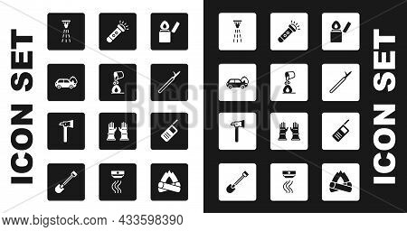 Set Lighter, Bucket Extinguishing Fire, Burning Car, Fire Sprinkler, Metal Pike Pole, Flashlight, Wa