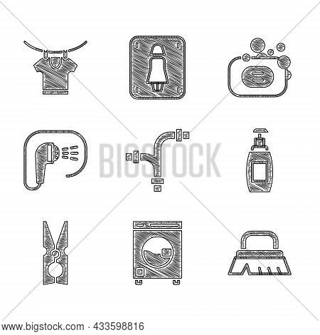 Set Industry Metallic Pipe, Washer, Brush For Cleaning, Bottle Of Liquid Soap, Clothes Pin, Shower,