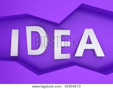 Three-dimensional word Idea in the zig-zag frame on the purple wall poster
