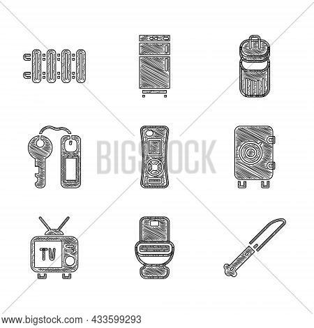 Set Remote Control, Toilet Bowl, Knife, Safe, Retro Tv, Hotel Door Lock Key, Trash Can And Heating R