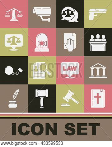 Set Holy Bible Book, Courthouse Building, Jurors, Scales Of Justice, Flasher Siren, And Oath On The
