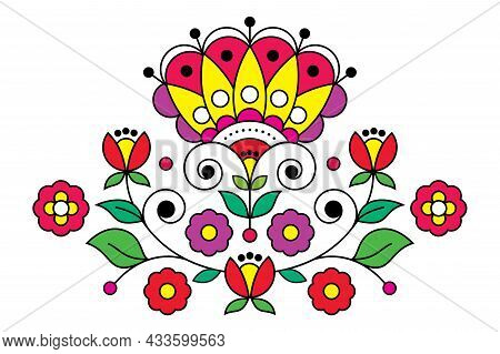 Scandinavian, Nordic Folk Art Vector Pattern With Floral Motif Inspired By Traditional Embroidery De