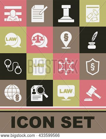 Set Judge Gavel, Justice Law In Shield, Feather And Inkwell, Stamp, Scales Of Justice, Law, Prisoner