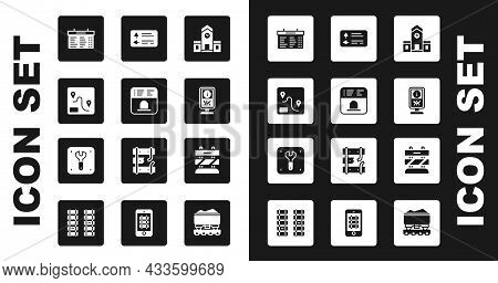 Set Railway Station, Ticket Office To Buy Tickets, Route Location, Train Board, Information Stand, R